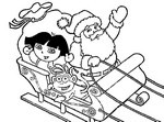 Coloriage Dora sur le traineau du P�re No�l