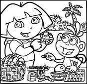 Coloriage Dora décore les oeufs de Pâques