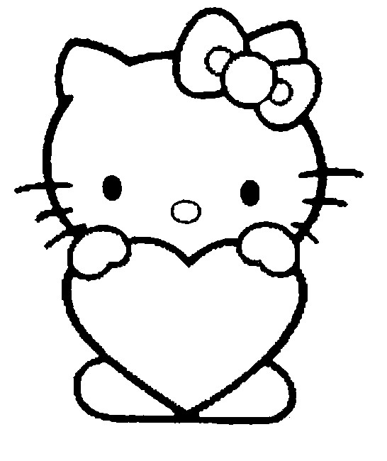 Coloriage Cœur Hello Kitty - Saint Valentin