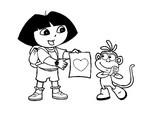 Coloriage Dora donne un cœur à Babouche