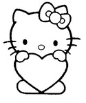 Coloriage Cœur Hello Kitty
