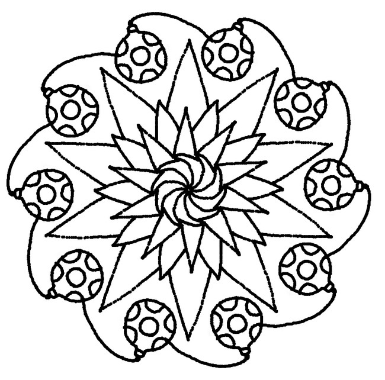 Coloriage mandalas pour noel mandala etoiles et boules - Coloriage de mandala de noel ...