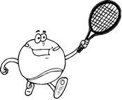 Coloriage Balle qui joue au tennis