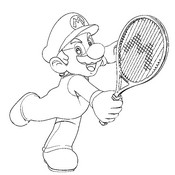 Coloriage Tennis Super Mario