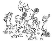 Coloriage Entraînement de tennis enfants
