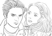 Coloriage Twilight - Edward et Bella