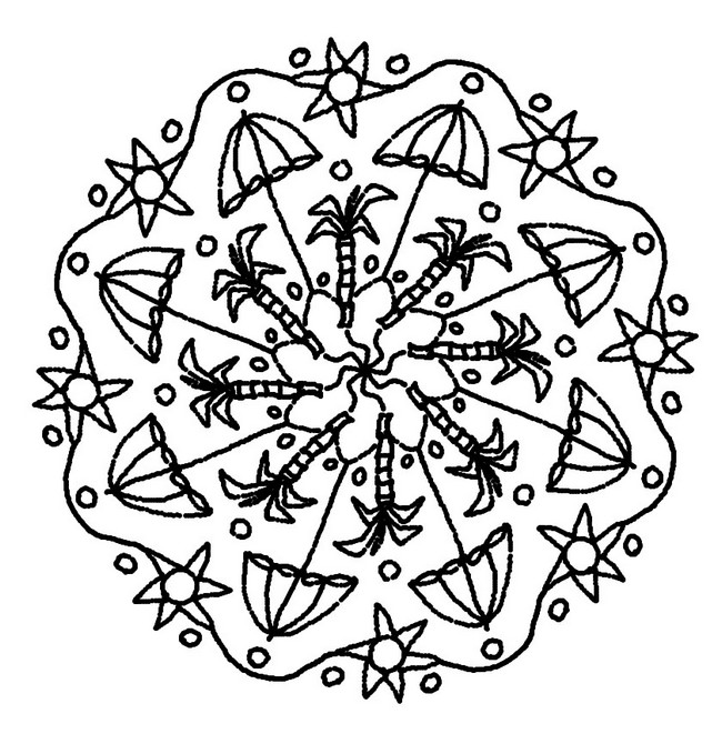 Coloriage mandalas ete mandala plage et palmiers 4 for Disegni da colorare estate