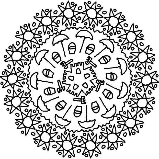 Coloriage Mandalas été Mandala Soleils Et Parasols 9