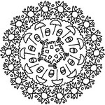 Coloriage Mandala soleils et parasols