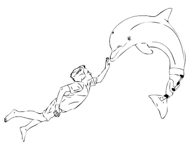 Coloriage dauphin coeur a imprimer gratuit - Images dauphins a imprimer ...