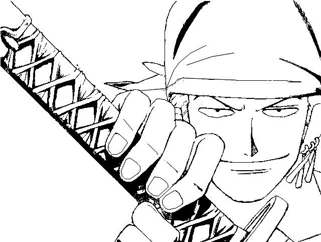Coloriage One Piece Zorro Roronoa L Escrimeur à 3 Sabres 4