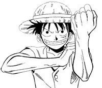 Coloriage Luffy poing levé