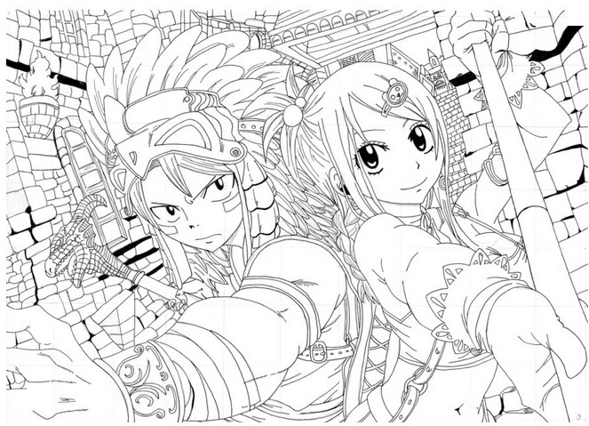 Coloriage Coloriage Natsu et Lucy - Fairy Tail