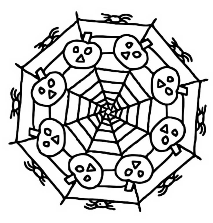 Coloriage Mandalas Halloween : Mandala Citrouilles 1