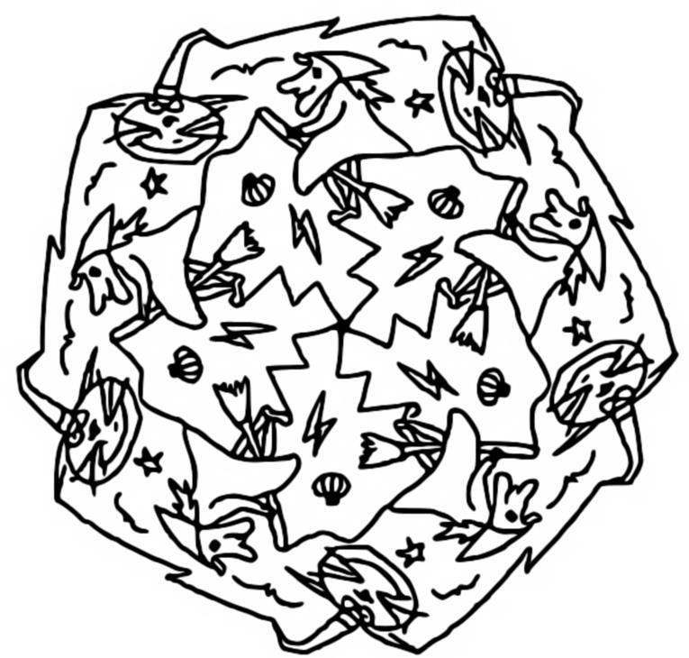 Coloriage Mandala Sorciere.Coloriage Mandalas Halloween Mandala Sorcieres 7