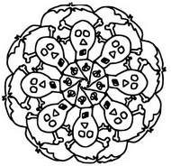 Coloriage Mandala têtes de mort