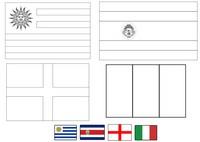 Coloriage Groupe D: Uruguay - Costa Rica - Angleterre - Italie