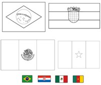 Coloriage Groupe A: Brésil - Croatie - Mexique - Cameroun