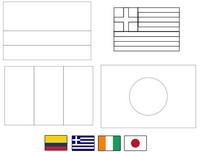 Coloriage Groupe C: Colombie - Grèce - Côte d'Ivoire - Japon
