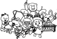 Coloriage Pororo et ses amis font de la musique