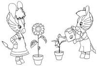 Coloriage Zou et Elzée jardinent