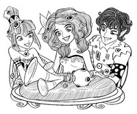 Coloriage Mia, Mo et Yuko