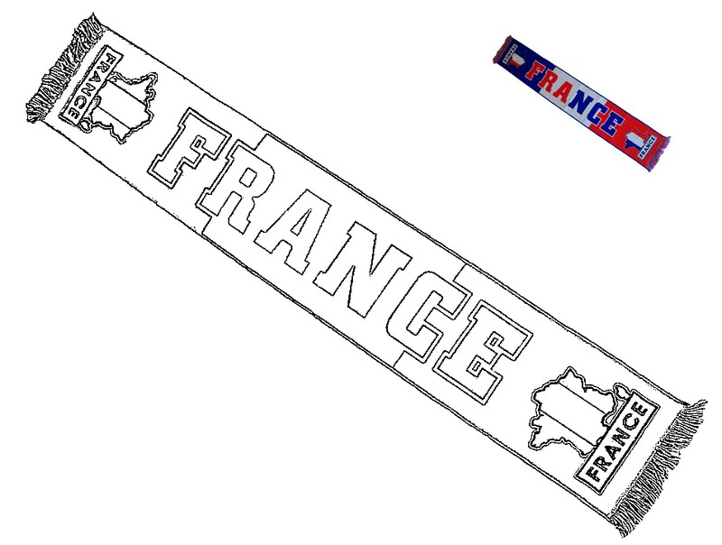 Coloriage equipe de france de football echarpe quipe de france foot 1 - Coloriage equipe de foot ...