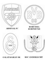 Coloriage Groupe D: Arsenal FC - Borussia Dortmund - Galatasaray SK - RSC Anderlecht