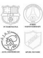 Coloriage Groupe F: FC Barcelone - Paris Saint-Germain - Ajax Amsterdam - APOEL Nicos