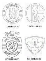 Coloriage Groupe G: Chelsea FC - Schalke 04 - Sporting CP - NK Maribor