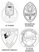 Coloriage Groupe H: FC Porto - Shakhtar Donetsk - Athletic Bilbao - FC Bate Borissov