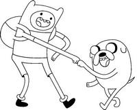 Coloriage Adventure time: Finn et Jake