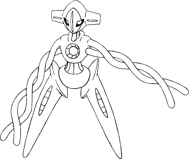 Coloriage Pokémon forme alternative 386 Deoxys - Pokémon Formes Alternatives