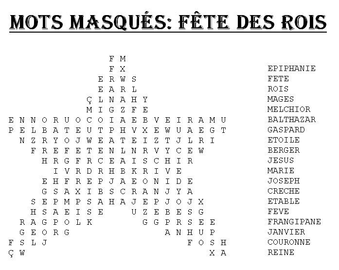 Assez Bonjour les enfants: Le blog: Mots masqués Fête des Rois KK35