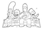 Coloriage en ligne Les Simpsons mangent des popcorns
