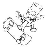 Coloriage en ligne Bart fait du skate