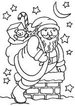 Coloriage en ligne Père Noël sur la cheminée