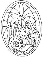 Coloriage en ligne Jésus, Marie, Joseph