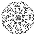 Coloriage en ligne Mandala châteaux de sable
