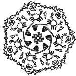 Coloriage en ligne Mandala crabes et coquillages