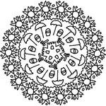 Coloriage en ligne Mandala soleils et parasols