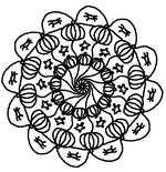 Coloriage en ligne Mandala citrouilles Halloween
