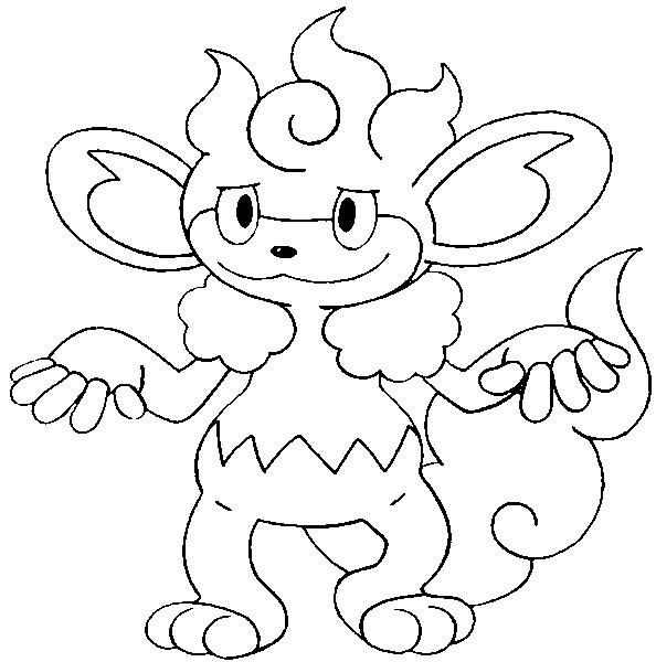 pokemon coloring pages pansage black - photo#16