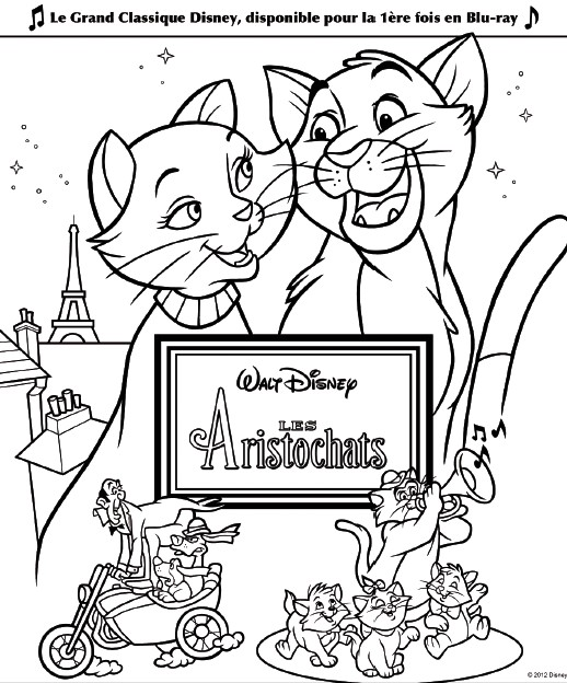 Jeu imprimer les aristochats coloriage aristochats 1 - Dessin aristochats ...