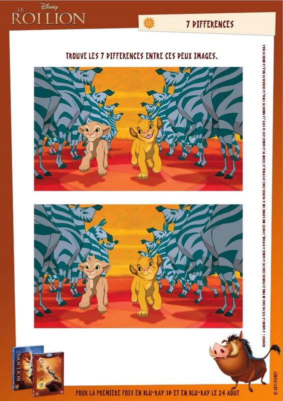 Jeu A Imprimer Differences Jeu Des 7 Erreurs Roi Lion 8