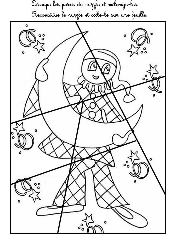Jeu imprimer activites maternelle carnaval d coupe et for Puzzle a colorier