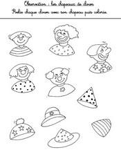 Jeu Observation: relie chaque clown avec son chapeau