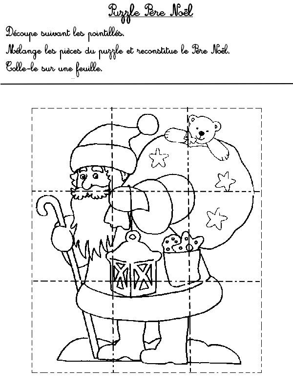 Jeu à imprimer Activites maternelle Noel : Puzzle Noël 1