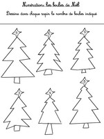 Jeu Numération Les sapins de Noël