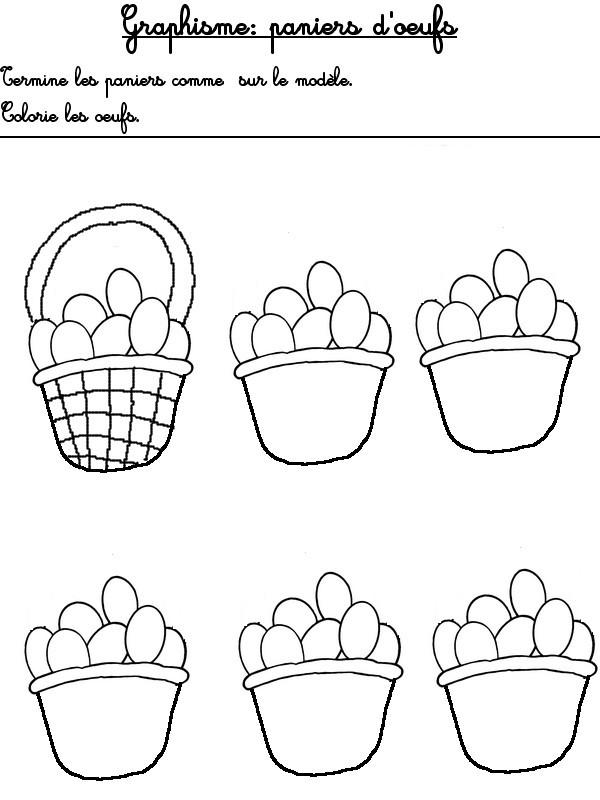 Fabuleux Jeu à imprimer Activites maternelle Paques : Graphisme<br />Panier  CC07